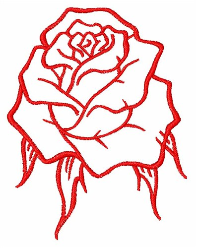 Satin stitch embroidery design rose outline inches h