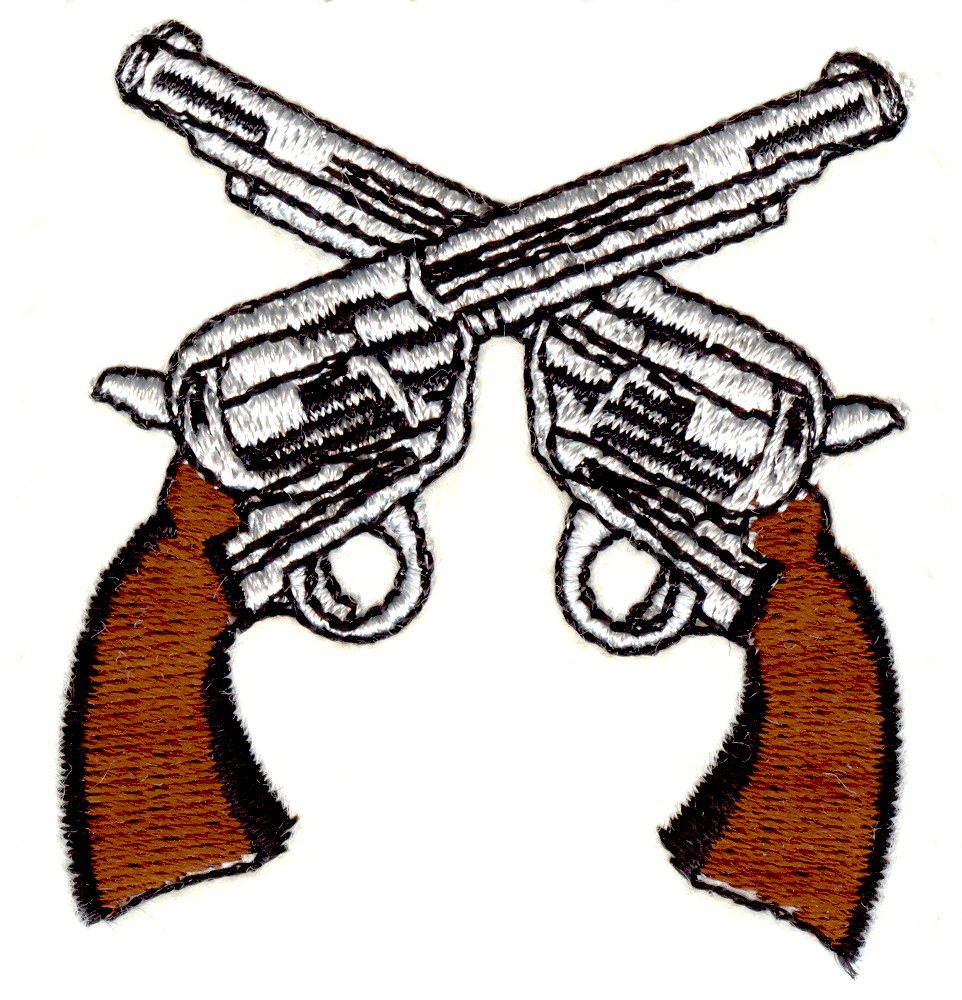 Stitchitize embroidery design crossed guns inches h