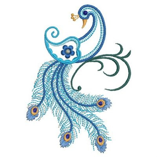 Sweet Heirloom Embroidery Design Jacobean Peacock 384