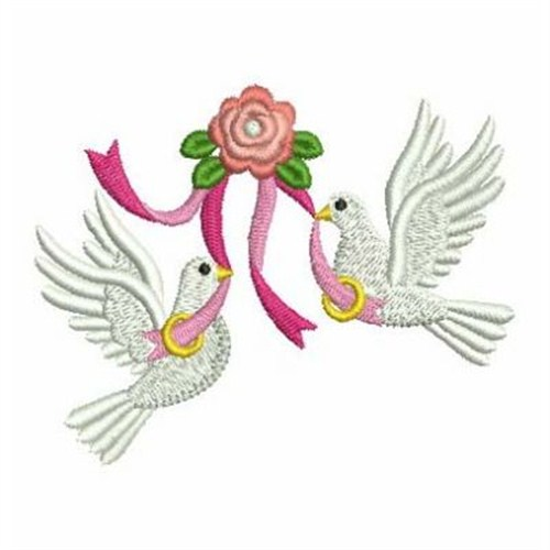 Sweet heirloom embroidery design wedding ring doves