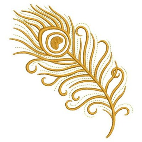 Sweet heirloom embroidery design gold peacock feather
