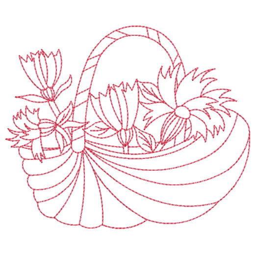 Free Flower Basket Embroidery Designs : Wind bell embroidery design redwork flower
