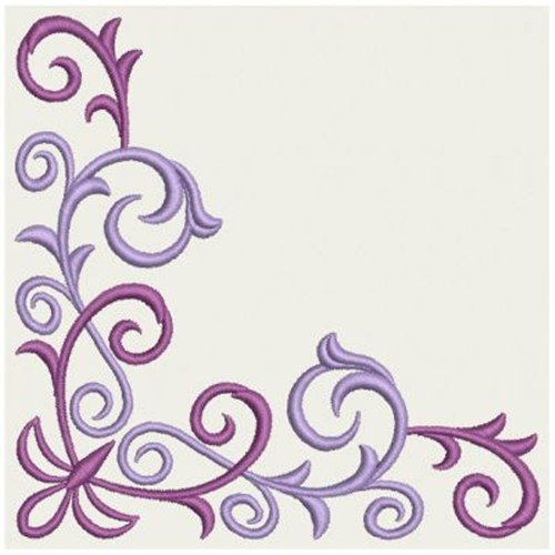 Corner Scroll Designs: Wind Bell Embroidery Embroidery Design: Scroll Corner 3.82