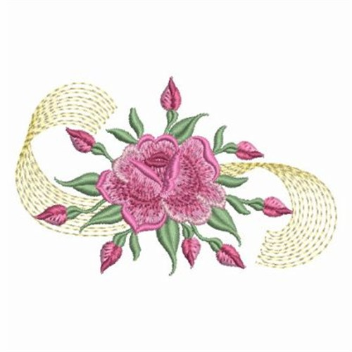 Wind bell embroidery design bullion roses