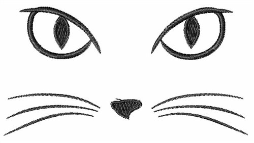 Windmill Designs Embroidery Design Cat Face 214 Inches H