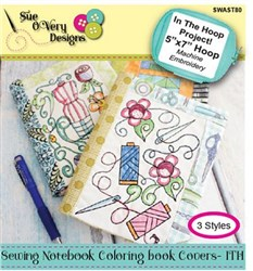 Sewing Notebook Coloring Book Covers - In The Hoop Designs CD