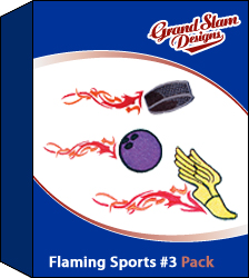 Flaming Sports Designs Package #3 embroidery design pack