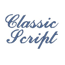 AMD Classic Script embroidery font