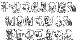 Precious Moments embroidery font