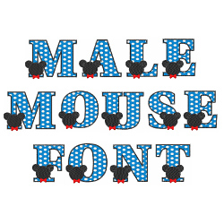 Male Mouse Font embroidery font
