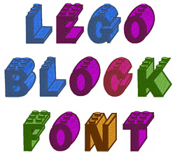 Lego Block Font embroidery font