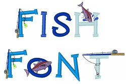 Fish Font embroidery font