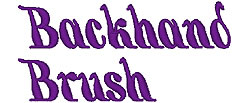 Backhand Brush embroidery font
