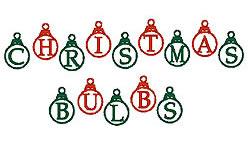Christmas Bulbs embroidery font