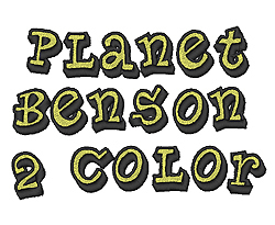 Planet Benson 2 Color embroidery font