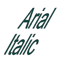 Arial Italic embroidery font