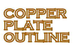 Copper Plate Outline embroidery font