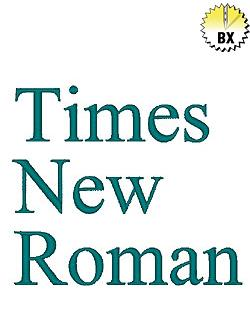 Times New Roman 0.75in embroidery font
