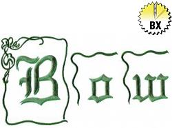 Bow 3.32in embroidery font