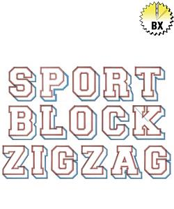 Sports Block Zig Zag 4.91in embroidery font