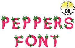 Peppers Alphabet 1.58in embroidery font