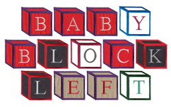 Left Baby Block embroidery font