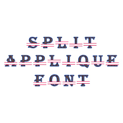 Split Applique embroidery font