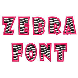 Zebra Font embroidery font