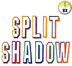 Split Shadow 2.54in embroidery font
