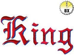 King 2.80in embroidery font