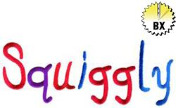 Squiggly 3in embroidery font