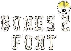 Bones Alphabet embroidery font
