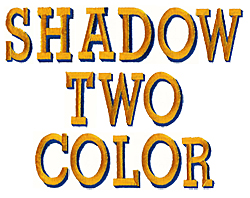 2C Shadow embroidery font