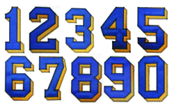 Zig Zag Applique Numbers embroidery font
