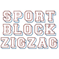 Sports Block Zig Zag embroidery font