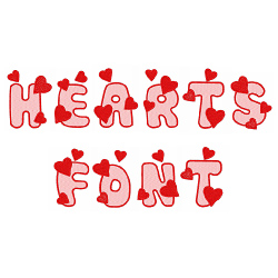 Hearts Font embroidery font
