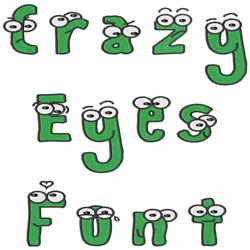 Crazy Eyes Font embroidery font