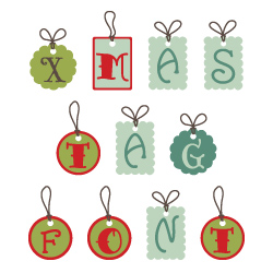 Christmas Tags Font embroidery font