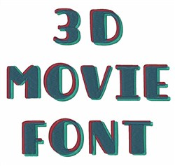3D Movie Font  embroidery font