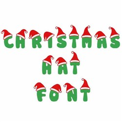 Christmas Hat Letters and Numbers embroidery font