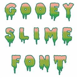 Gooey Slime Letters and Numbers embroidery font