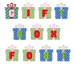 Gift Box Font embroidery font