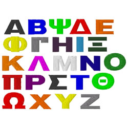 greek letters block embroidery font