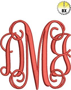 3 inch Interlocking Monogram with 1.9 inch Letters 3in embroidery font