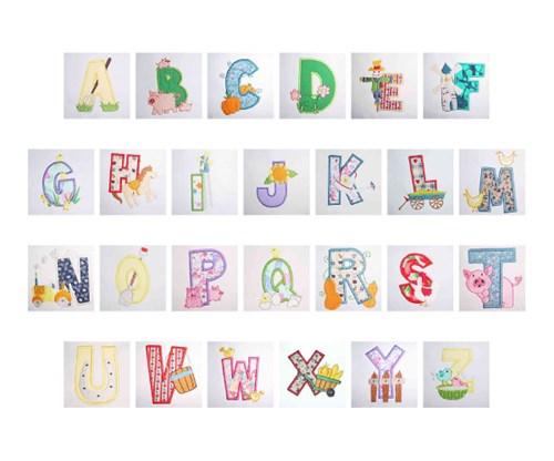 Farm animal applique alphabet by daydream designs home
