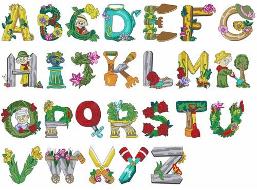 Gardening alphabet by daydream designs home format fonts for Alphabet garden designs