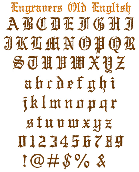 Engravers Old English by Internet Stitch Embrilliance Fonts on