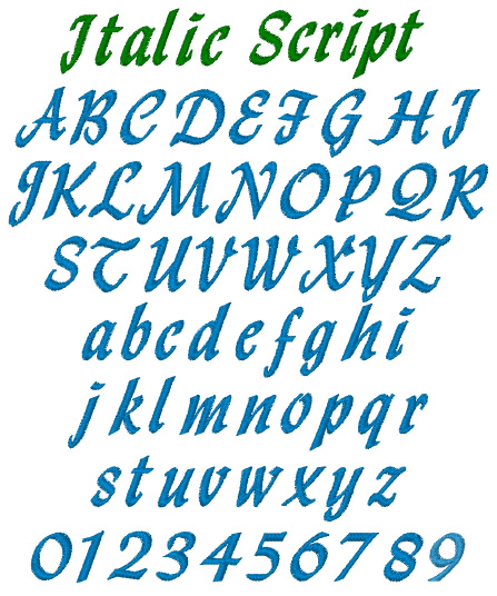 Italic script by internet stitch home format fonts on