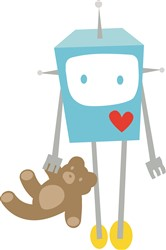 Robot With Teddy Bear print art