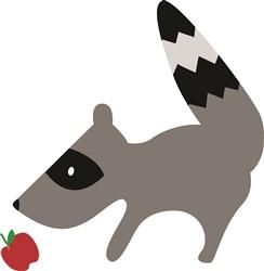 Raccoon With Apple print art